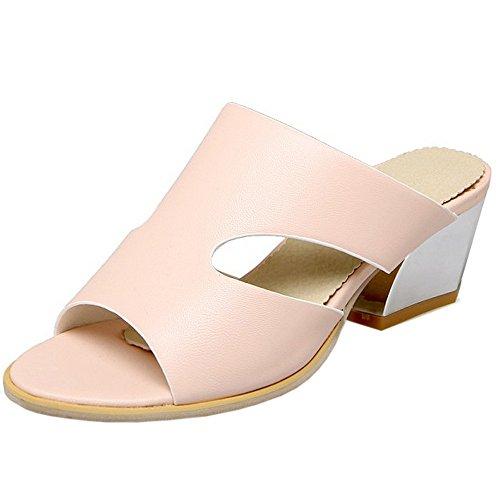 TAOFFEN Damen Gemutlich Schlupfschuhe Slide Shoes Open Back Block Mitte Absatz Summer Sandalen Pink