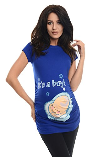 Purpless Maternity It's a Boy - Slogan Gedruckt Baumwolle Schwangerschaft Top 2002 (40 (UK 12), Royal Blue) (Royal Bekleidung Blue Kids)