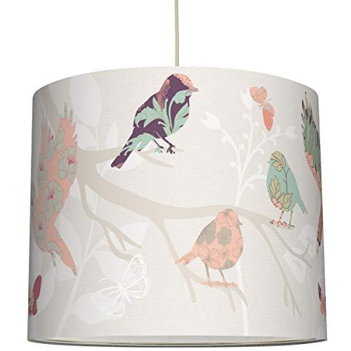 anna wand Hängelampe DREAMBIRDS - Lampenschirm für Kinder/Baby Lampe mit Vögeln - Sanftes Kinderzimmer Licht Mädchen & Junge - ø 40 x 34 cm (Mädchen Hängelampe)