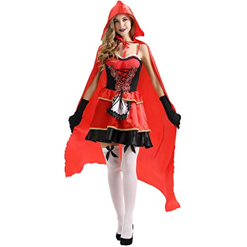 Robin Red Kostüm Hood - Writtian Damen Halloween Damen Kostüm Kleider für Karneval Fasching Halloween Hexe Cosplay Set