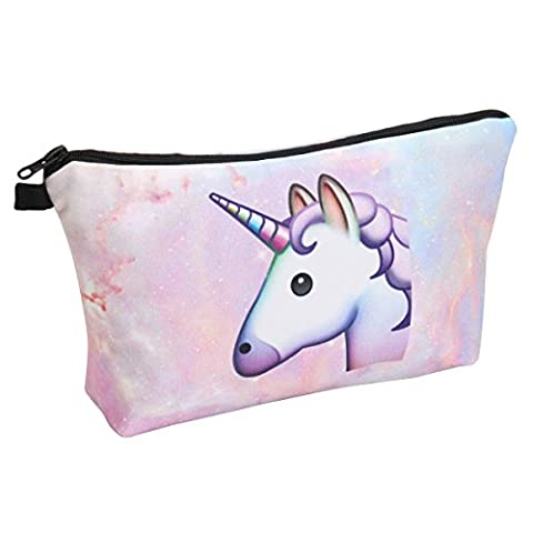 Makeup Bag, essort Wash Make Up Cosmetic Bag Pouch Purse Pencil Case Travel Bag Makeup Storage Bag Small Cosmetic Pouch Printed Trousse Beauty Organiseur Pencil Case Unicorn