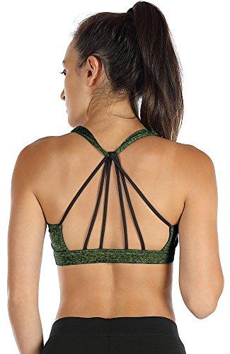 icyzone Sport BH Damen Yoga BH mit Gepolstert - Starker Halt Fitness-training Strech BH Bustier Push up Top ohne Bügel Sports Bra (L, Green)