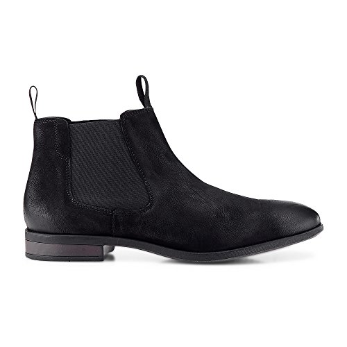 Cox Herren Herren Chelsea Boots aus Leder, lässige Stiefel in Schwarz mit Rutschfester Sohle schwarz Rauleder 41