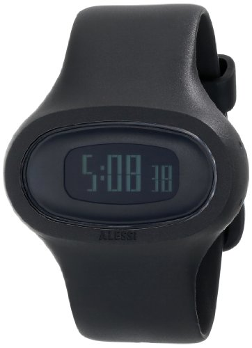 Alessi AL25000 - Reloj digital de cuarzo unisex con correa de plástico, color negro
