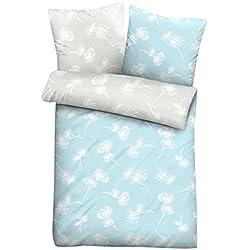 Linon-Bettwäsche Bettbezug Bettwäsche TINETTE 10 - B 135 x L 200 cm - Hellblau - Blumen