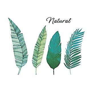 AWAKINK Green Plants Leaves Fern Leaves Pastoral Style Wall Stickers Wall Decal Vinyl Removable Art Wall Decals Bedroom Living Room Nursery Room Children's Bedroom Sofa TV Background DIY Art Decals