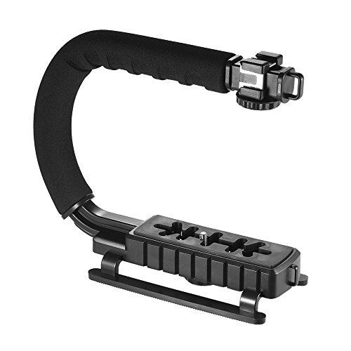 Andoer 3 Schuh Halterungen U / C-Förmige Griff Handheld Halterung Stabilisator Halter Grip für iPhone 7 Plus-6s 6 Plus für Canon Nikon Sony DSLR-Kamera Camcorder