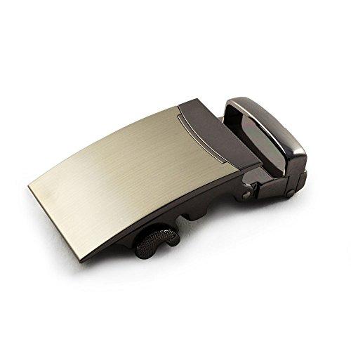 Gürtelschnalle in elegantem Design NUR für Gürtel mit RASTERSCHIENE, hochwertige Gürtelschließe, in Edelstahloptik, Wechselschnalle, Automatikschnalle für Wechselgürtel – Marke Ganzoo