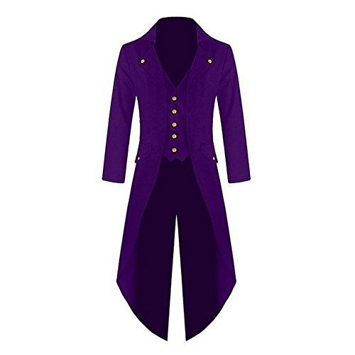 Shujin Herren Vintage Frack Steampunk Gothic Jacke Viktorianischen Langer Mantel Fasching Karneval Cosplay Kostüm Smoking Jacke ()