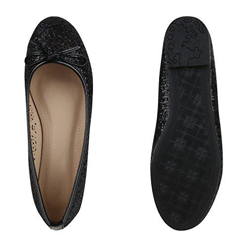 Klassische Damen Ballerinas Lederoptik Modische Schuhe Freizeit Schwarz Löcher