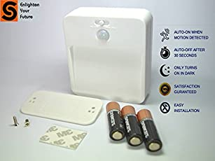 Smart Sense Motion Sensor Light for Home, Battery Operated and Wireless, Small (White)