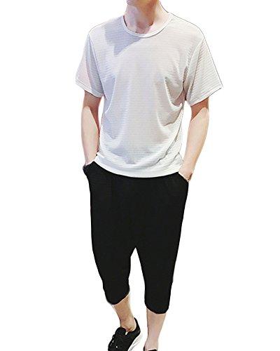 Herren Leinen Kurzarm Freizeithemd Sommer Kragenloses T-Shirt Und Cropped Hose Sets Weiß XL