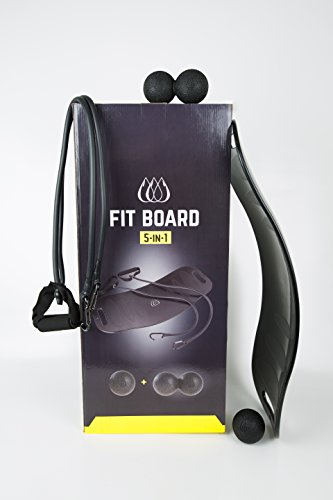 TeamSoda Fit Board Bundle. 5 in 1 Balance Board mit Workout Bands für Arm Übungen, Erdnuss Massage Ball und Trigger Point Lacrosse Ball (Kniesehne Schmerzen)