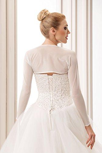 Damen Bolero Bolerojackchen Hochzeit Jacke Tuch fur die Braut Elfenbein weib elastischer Tull hochwertig Weiß