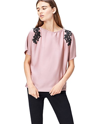 Find. lace trim shoulder  camicia donna, rosa (old rose), 40 (taglia produttore: x-small)