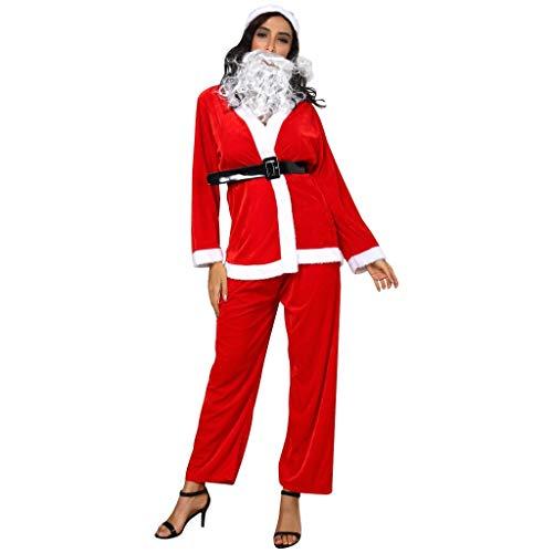 Momoxi Weihnachten Kostüm Damen mit Gürtel Weihnachtsmann Damen Dessous Rotes Kleid Partei Cosplay Outfits Anzüge Santa Claus Plus Size Nikolauskostüm für Halloween Weihnachtsparty