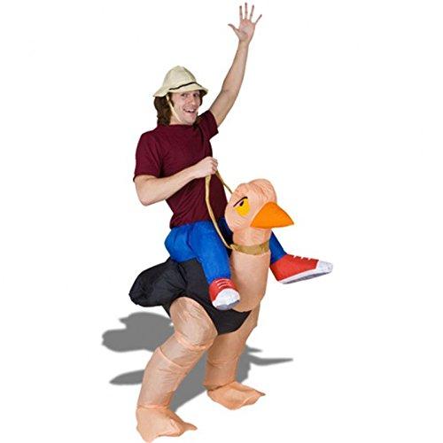 Imagen de disfraz hinchable jinete a hombros de avestruz para adultos