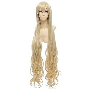 QIYUN.Z 100Cm Lumiere Doree Blonde Ondulee Longue Entierement Synthetique Cosplay Costume Perruque D'Anime Chaleur De Cheveux De Fibre Synthetique Resistant Pour Les Femmes