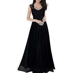 Vestido Largo Elegante de Gasa Encaje V