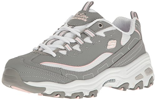 Skechers D'LITES-BIGGEST FAN, Women's Trainers, Grey (Gray Trubuck/White Mesh/Lt Pink Trim Gyw), 6  (39 EU) (Schuhe Skechers Damen White)