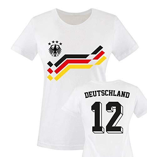 EM 2016 - Retro-Trikot - Deutschland - 12 - Damen T-Shirt - Weiss/Schwarz-Rot-Gelb Gr. XXL