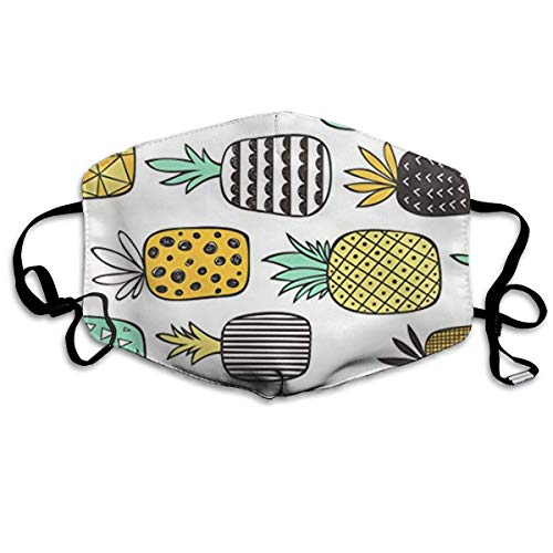 Daawqee Staubschutzmasken, Pineapple Geometric On White Face Masks Breathable Dust Filter Masks Mouth Cover Masks Elastic Ear Loop