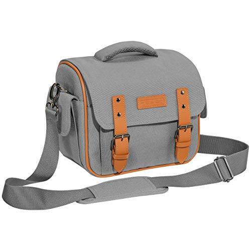 """PEDEA DSLR-Kameratasche """"Vintage"""" Fototasche für Spiegelreflexkameras mit wasserdichtem Regenschutz, Tragegurt und Zubehörfächern, Gr. XL grau"""