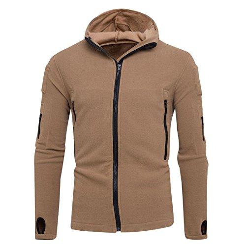 Preisvergleich Produktbild Hoodie Jacke Zipper Herren Btruely Winter Mode Männer Kapuzenpullover Langarm Mit Kapuze Mantel Männer Hooded Sweatshirt Retro Outwear (L,  Khaki)