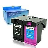 Teng - 2 Cartuchos de Tinta remanufacturados compatibles con HP 301 XL für Envy 5530 4500 Deskjet...