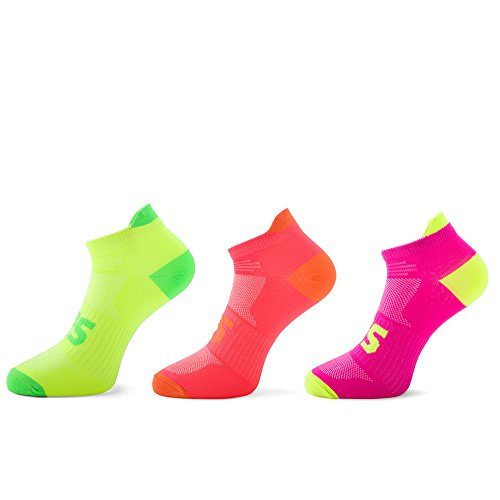 SLS3 Running Socks Anti Blister Arch Support Neon Colors Very Thin 1,3 & 6 Pairs German Designed
