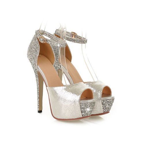 XINJING-S Frauen Pailletten Peep Toe Buckle Plattform Block High Heels Hochzeit Sandalen Schuhe Silver
