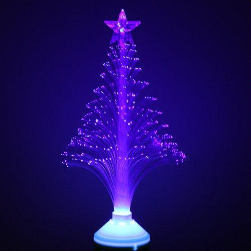Luce natalizia a forma di albero, fibra ottica LED, colore blu