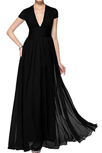 ivyd ressing robe courte ligne V de la découpe A Manches Longue Prom Party robe robe du soir Schwarz