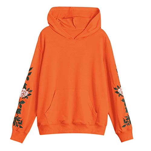 Damen O-Neck Shirt, FGHYH Damenmode Floral Vordertasche Hoodie Bluse Langarm Sweatshirt Top Shirt(2XL, Orange) - Short Sleeve V-neck-knoten