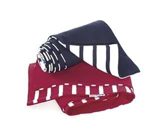 Kinder-Schal, einseitig gestreift, blau/ecrugestreift