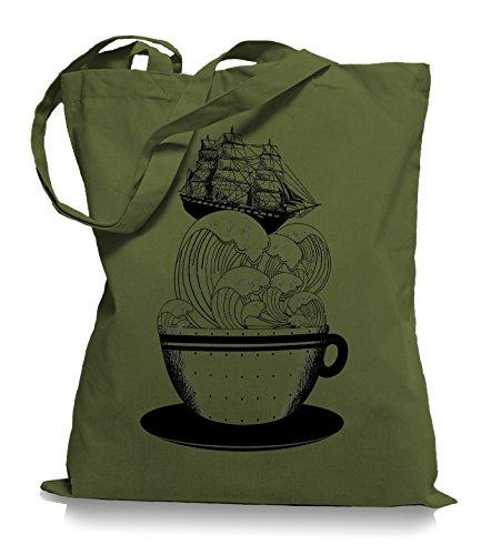 Ma2ca® Cup of Ship - Schiff Jutebeutel Stoffbeutel Tragetasche / Bag WM101 Olive Green