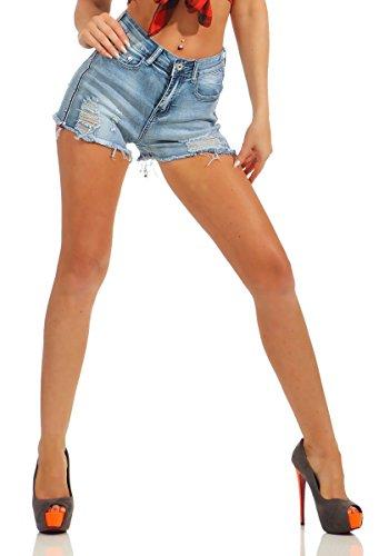 4975 Fashion4Young Damen Jeans Hotpants Denim Shorts kurze Hose Hot Pants Jeans High-Waist Stretch (hellblau, S-36)
