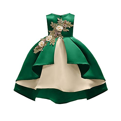 Livoral Mädchen Schönheit Kleid Blume Baby Prinzessin Brautjungfer Kleid Geburtstagsfeier Hochzeitskleid(Grün,100) - Meinen Buchen Geburtstag