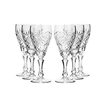 Set von 6njoman glasbläsereien, 7.7-oz Hand Made Vintage Russische Kristall Weingläser, Classic Weinkelche, altmodischen Glaswaren Crystal Drinkware Collection