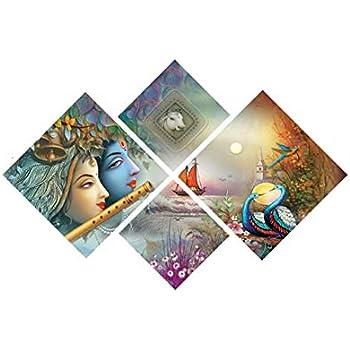 eCraftIndia 'Radha Krishna' Painting (Canvas Print, 127 cm x 43.18 cm, Set of 4, CPGKB49100)