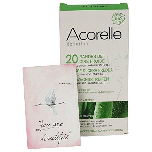 Acorelle - Strisce Depilatorie a freddo con Aloe Vera -Viso - Ipoallergeniche - Con crema lenitiva inclusa
