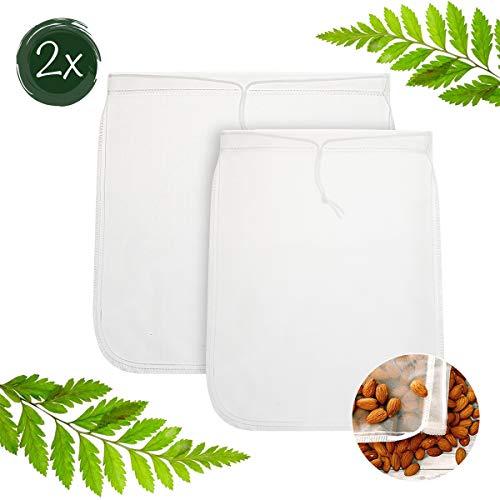 dystaval 2X Nussmilchbeutel Milch Sieb | Passiertuch | Filterbeutel Set für vegane Milchalternativen wie Nussmilch, Mandelmilch, Frucht-/Gemüsesaft und Smoothies Sieb