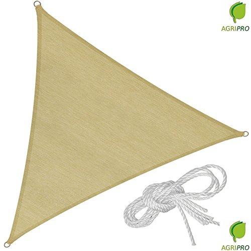 Toile en voile triangulaire de 5 m, beige, pour extérieur, voile d'ombrage pour jardin