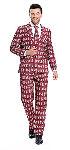 YOU LOOK UGLY TODAY More 2017 Designs! Mens Christmas Suit Party Funny Novelty Xmas Jacket Costume, Ugly Christmas Suit Outfit by Red-Pole Dance Santa,Medium