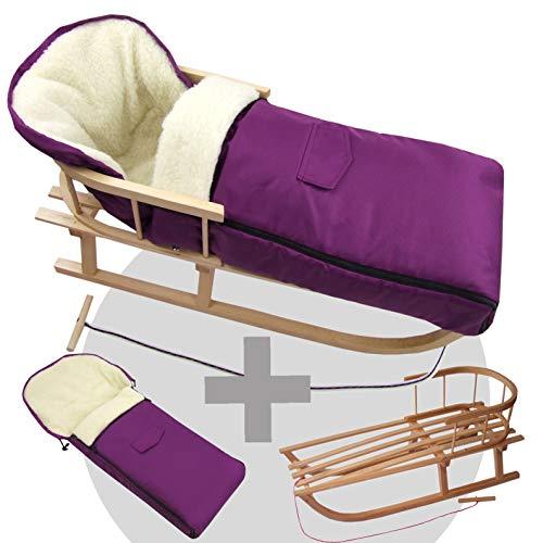 BambiniWelt24 BAMBINIWELT Kombi-Angebot Holz-Schlitten mit Rückenlehne & Zugseil + universaler Winterfußsack (90cm), auch geeignet für Babyschale, Kinderwagen, Buggy, aus Wolle Uni (Kirsch)