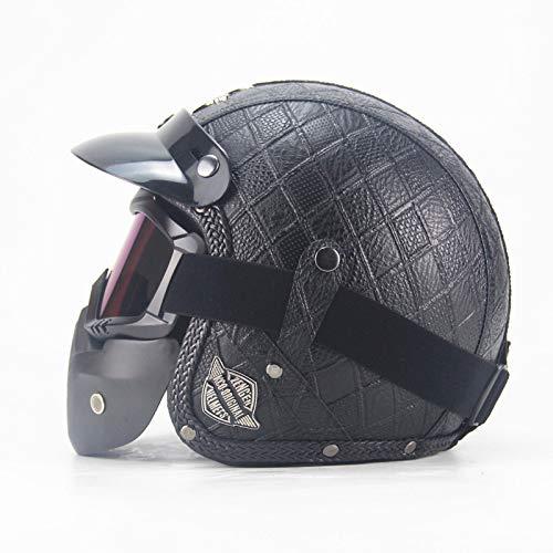 LI DANNA PU-Leder Harley Helme 3/4 Retro Helm Motorrad Helm Mit Maske Goggle,Black-M57-58CM (Helm Modulare Cruiser Motorrad)