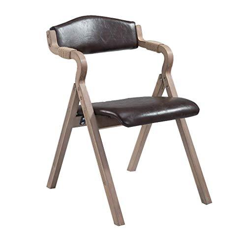 YAMEIJIA Retro Solid Wood Dining Chair mit Armrest Faltstuhl Soft Backrest und Seat Cushion für Kitchen Lounge Living Room-Vintage Faux Leder Stuhl,DarkCoffee (Faux-leder-stühle)