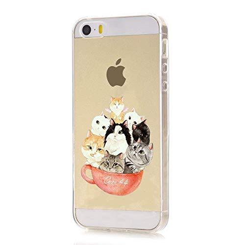 7Pite Apple iPhone SE Hülle Silikon Transparent Ultra Slim Weihnachts-Sketch Flexibel TPU Crystal Clear Durchsichtig Schutzhülle Slim Case Cover Bumper Handyhülle fur iPhone 5 / 5S (5)
