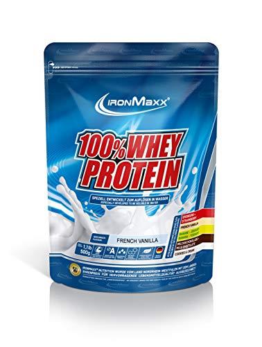 IronMaxx 100{dff168c21f56153e931dcd1e1dc2072bfacd415aa64952cebe7e8359de9e8974} Whey Proteinpulver – Vanille Eiweißpulver Whey für Proteinshake – Wasserlösliches Proteinpulver mit French Vanilla Geschmack – 1 x 500 g Beutel