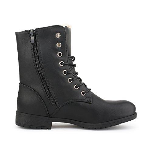 Best-Boots - Bottines À Lacets Femme - Boots Negro - Modell-5 Schwarz gefüttert